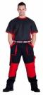 Montérkové kalhoty MAX černo - červená, 100 % bavlna