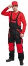 Zateplené montérkové kalhoty laclové MAX, červené