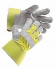 Výstražné pracovní rukavice CURLEW, hovězí štípenka,žlutá