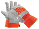 Výstražné pracovní rukavice CURLEW, hovězí štípenka,oranžová
