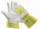 Zimní výstražné pracovní rukavice CURLEW WINTER, hovězí štípenka,žlutá
