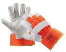 Zimní výstražné pracovní rukavice CURLEW WINTER, hovězí štípenka,oranžová