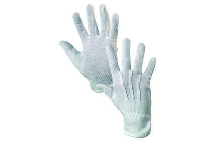 Rukavice MAWA, textilní, s PVC terčíky, bílé - minimální odběr 12 párů