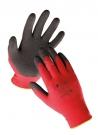 Polyesterové rukavice HS-04-012 máčené v černém latexu - minimální odběr 12 párů od velikosti