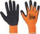 Rukavice PALAWAN s vrstvou latexu v dlani a pružným nápletem- oranžová-černá