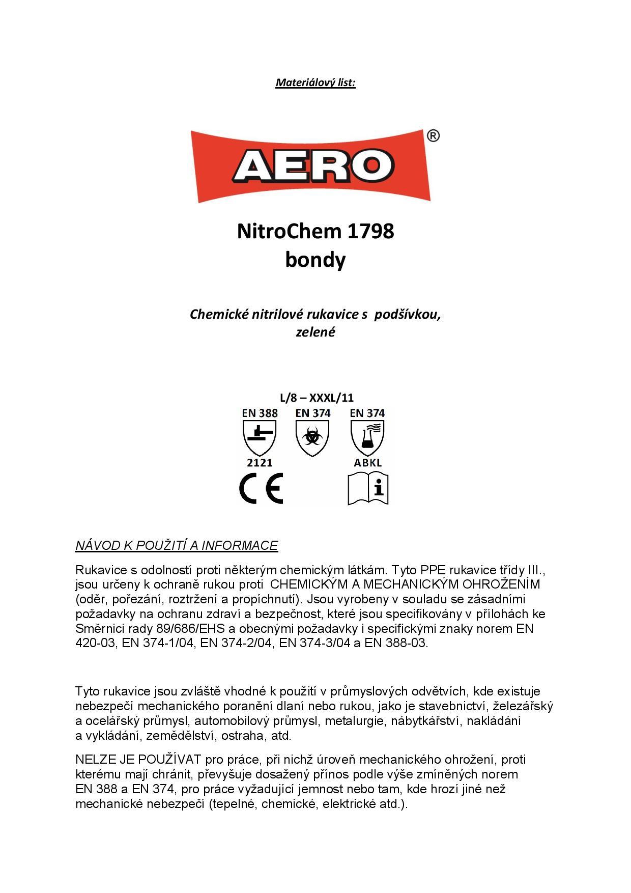 Rukavice chemické - NitroChem 1798 bondy