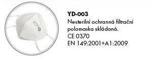 Respirátor FFP3  skládaný, YD 003, cena za 1 ks