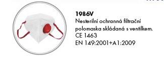 Respirátor FFP3 skládaný s ventilkem, 1986V
